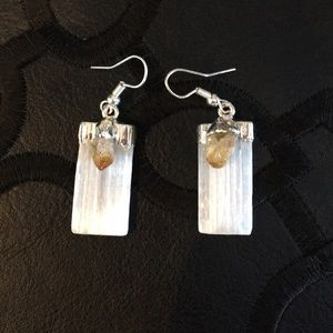 Jewelry - Selenite + Citrine earring, Gemstones Healing